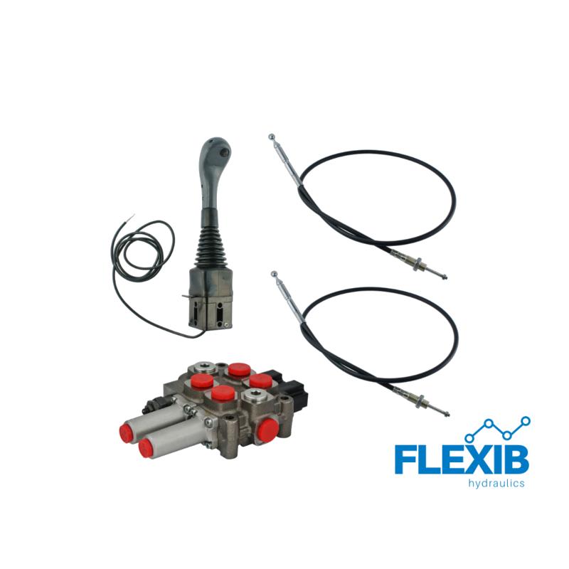 3-sektsiooniline komplekt hüdrauliline jagaja 60L / min  + joystick nupuga + kaks trossi Hüdraulika komplektid kuni 60L / min Hüdraulika komplektid kuni 60L / min