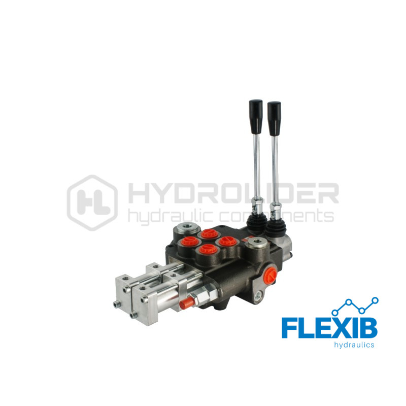 Hüdrauliline jagaja 2 sektsiooni 80L / min pneumaatiliselt juhitav Pneumaatiliselt juhitavad hüdrojagajad kuni 80L / min Hüdrojagajad