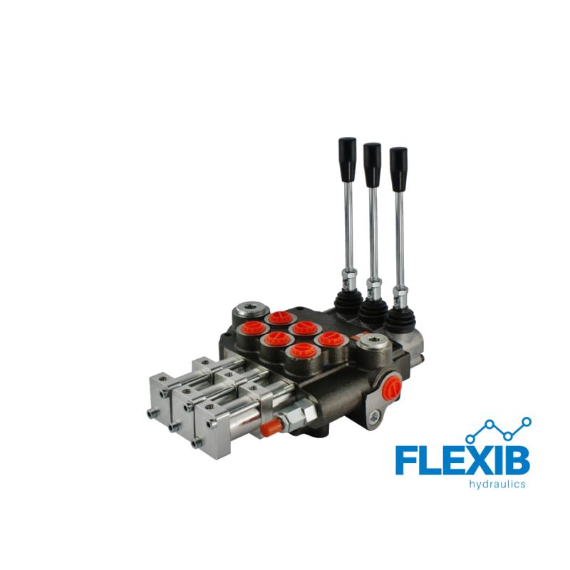 Hüdrauliline jagaja 3 sektsiooni 80L / min pneumaatiliselt juhitav Pneumaatiliselt juhitavad hüdrojagajad kuni 80L / min Hüdrojagajad