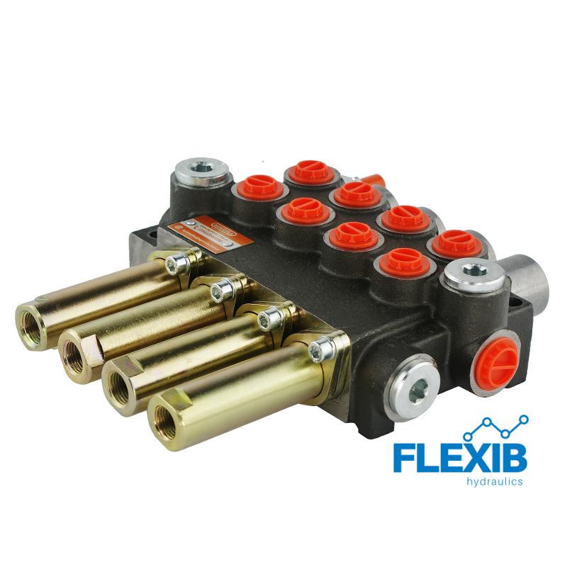 Hüdrauliline jagaja 4-sektsiooniline 40L / min Joystick ja Juhtkangile Hüdrojagajad Joystick trossidega kuni 40L / min Hüdrojagajad