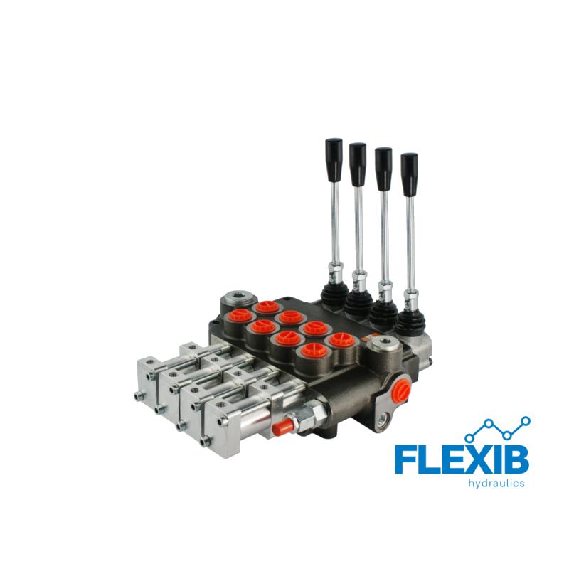 Hüdrauliline jagaja 4-sektsiooniline 80L / min pneumaatiliselt juhitav Pneumaatiliselt juhitavad hüdrojagajad kuni 80L / min Hüdrojagajad
