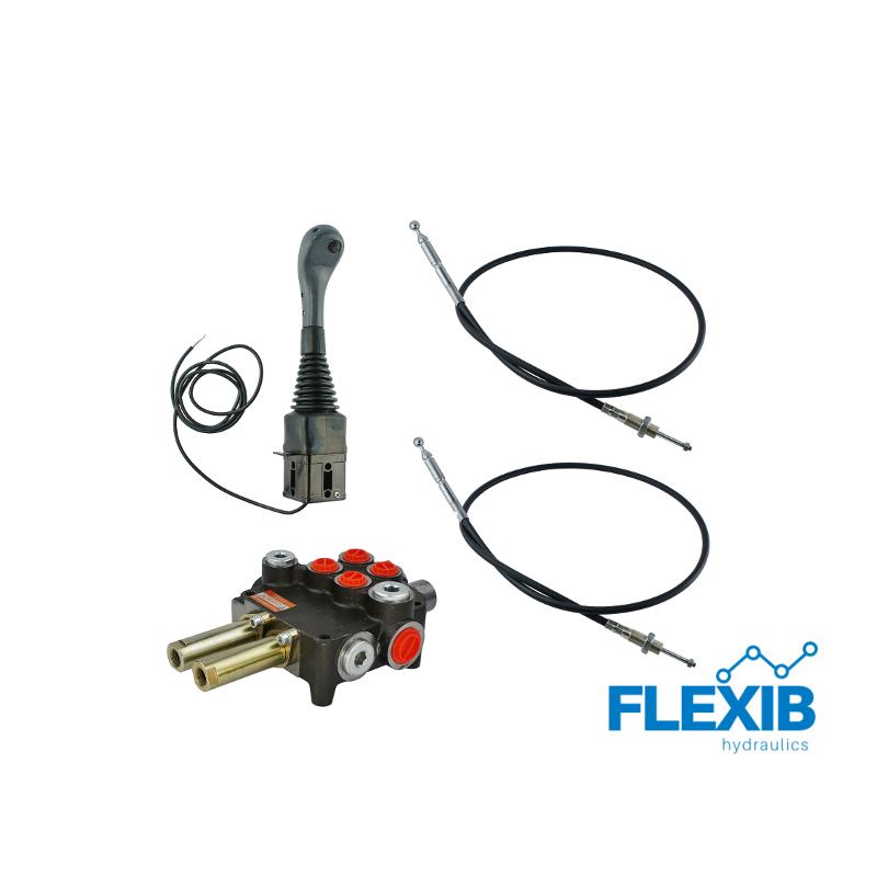Hüdrauliline jagaja 2-sektsiooniline 80L / min + joystick + juhtkangi trossid 2x Hüdraulika komplektid kuni 80L / min Hüdraulika komplektid kuni 80L / min