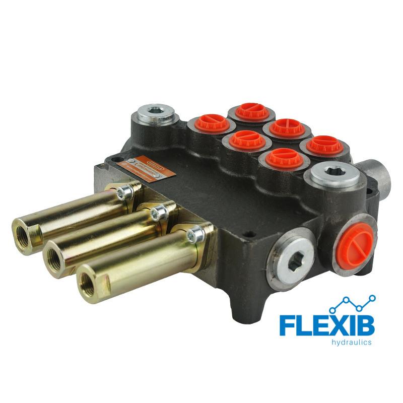 Hüdrauliline jagaja 3 sektsiooni 80L / min ja Joystick ja Juhtkangile Hüdrojagajad Joystick trossidega kuni 80L / min Hüdrojagajad