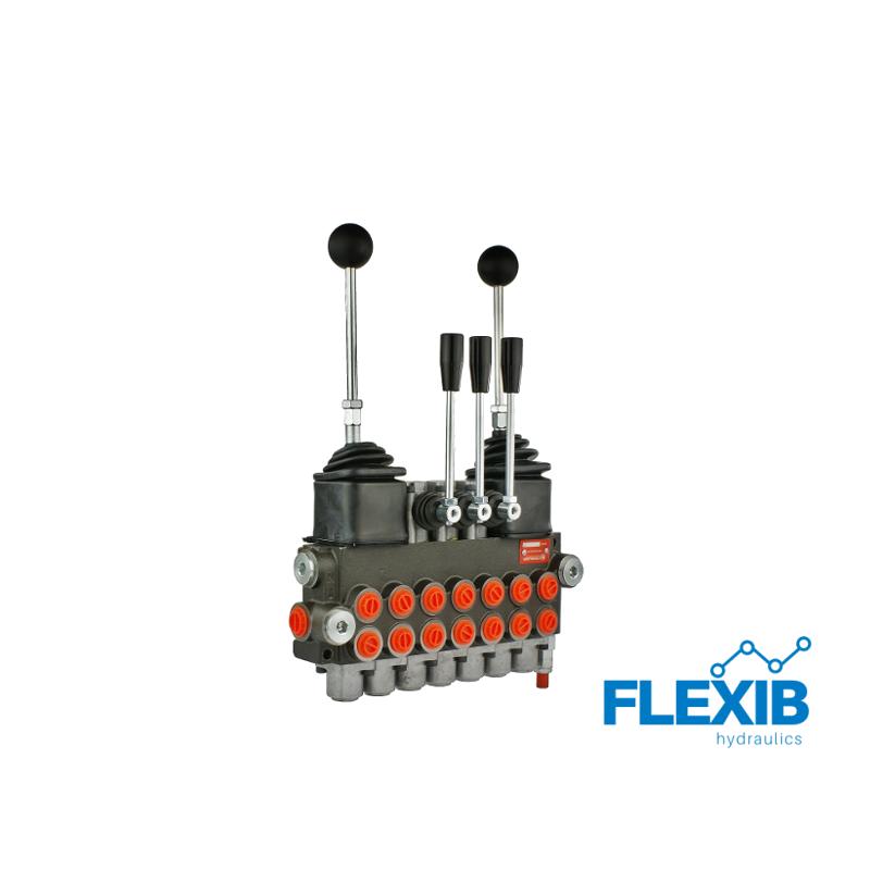 Hüdrauliline jagaja 7 sektsiooni 40L / min kaks juhtkangi ja kolm lisakangi Joystick hüdrojagajad kuni 40l/min Hüdrojagajad