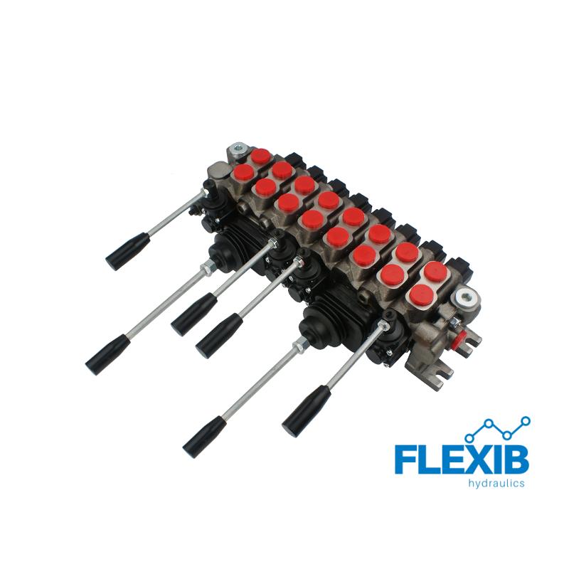 Hüdrauliline jagaja 8 sektsiooni 60L / min 2x Joystick + neli kangi Joystick hüdrojagajad kuni 60l/min Hüdrojagajad