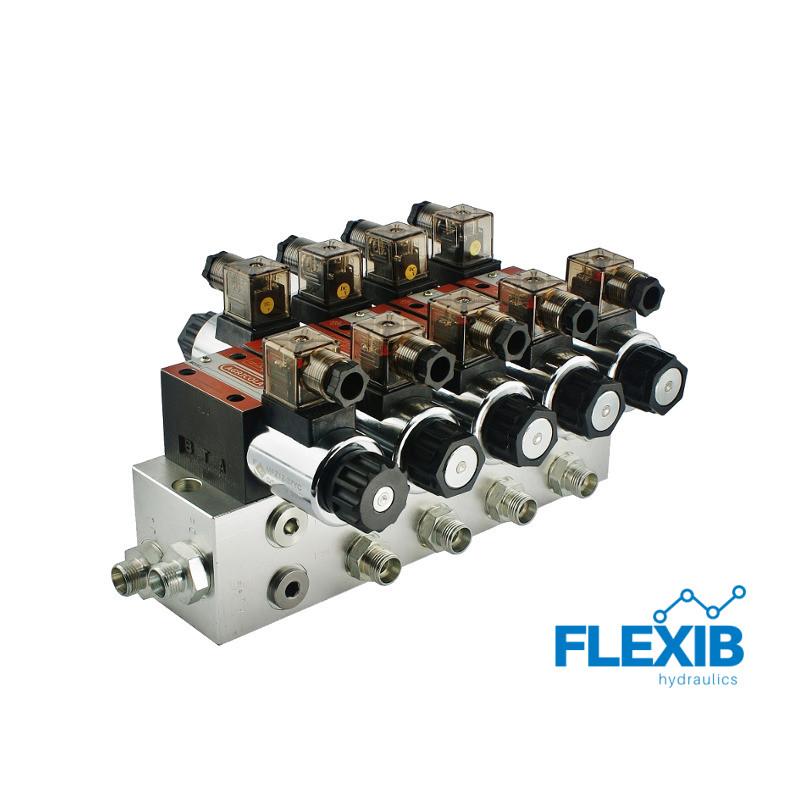 Hüdrauliline jagaja 4-sektsiooniline 60L / min plokitüübi CETOP 03 NG6 elektriliselt juhitav 12V 12V 12V
