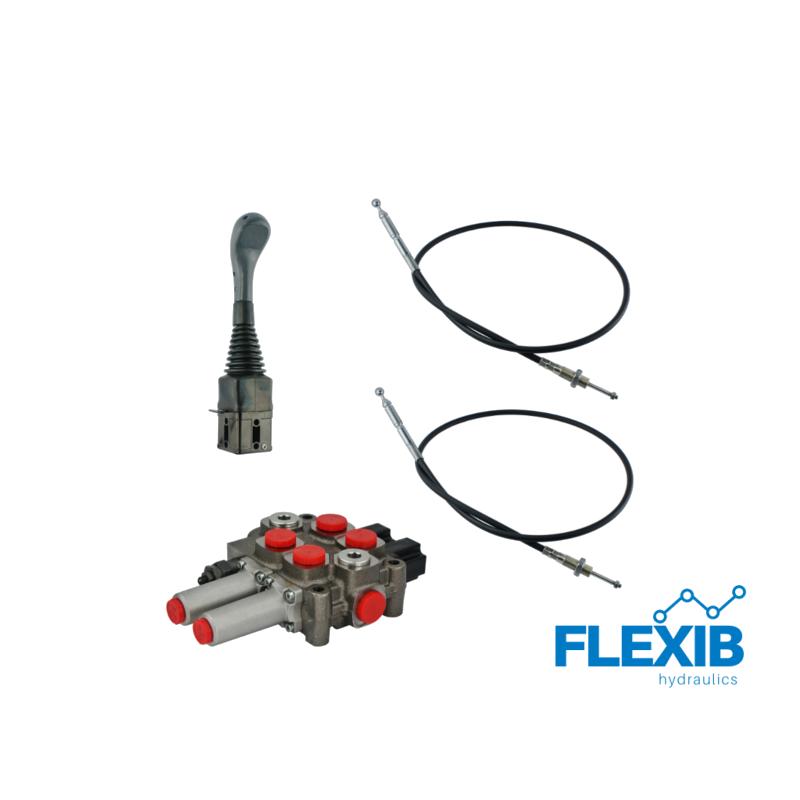 2-sektsiooniline komplekt hüdrauliline jagaja 60L / min +  joystick + kaks trossi Hüdraulika komplektid kuni 60L / min Hüdraulika komplektid kuni 60L / min