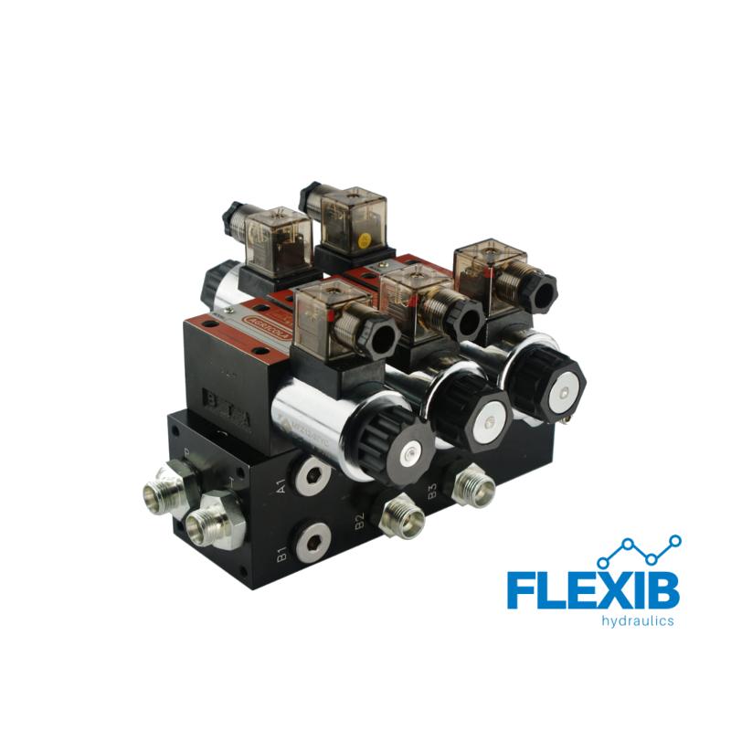 Hüdrauliline jagaja 2 sektsiooni 60L / min plokitüübi CETOP 03 NG6 elektriliselt juhitav 12V 12V 12V