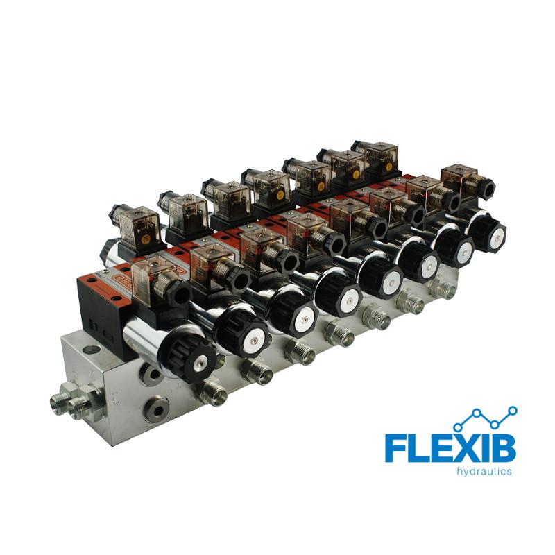 Hüdrauliline jagaja 7 sektsiooni 60L / min plokitüübi CETOP 03 NG6 elektriliselt juhitav 12V 12V 12V