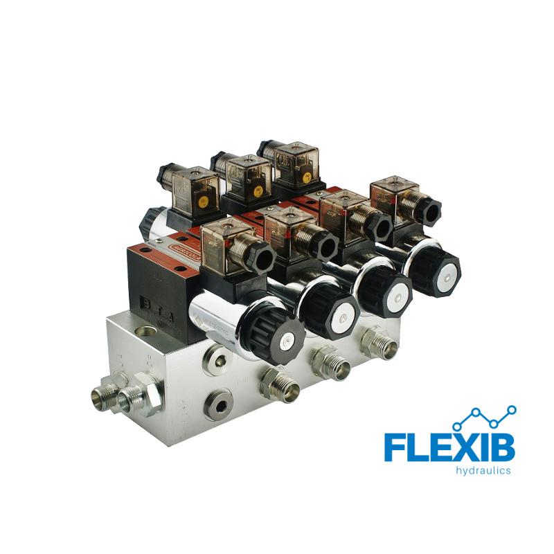 Hüdrauliline jagaja 3 sektsiooni 60L / min plokitüübi CETOP 03 NG6 elektriliselt juhitav 230 Hüdroklapid 230V Hüdroklapid