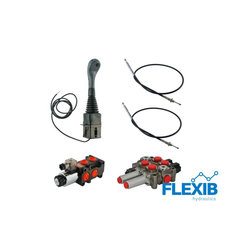 3-sektsiooniline komplekt hüdrauliline jagaja 60L / min + solenoid klapp + joystick nupuga + kaks trossi Hüdraulika komplektid kuni 60L / min Hüdraulika komplektid kuni 60L / min