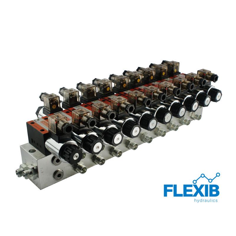Hüdrauliline jagaja 9 punkti 60L / min plokitüübi CETOP 03 NG6 elektriliselt juhitav 12V 12V 12V