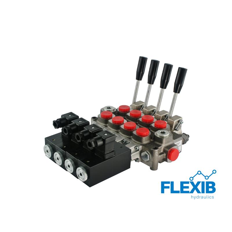 Hüdrauliline jagaja 4-sektsiooniline 60L / min elektriliselt juhitav 24V Kuni 60L / min Elektriliselt juhitavad hüdrojagajad 24V