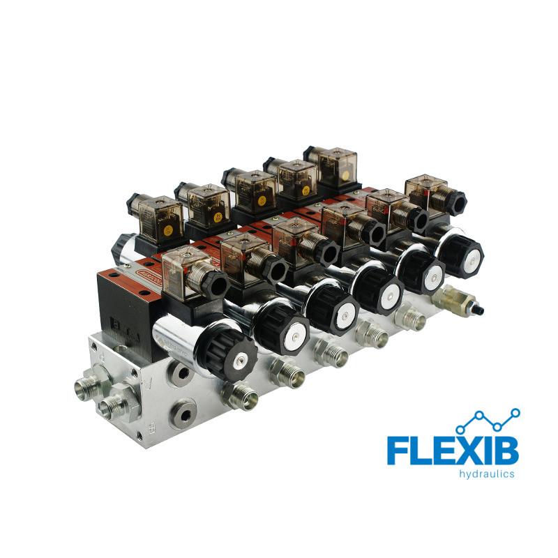 Hüdrauliline jagaja 5 sektsiooni 60L / min plokitüübi CETOP 03 NG6 elektriliselt juhitav 230 Hüdroklapid 230V Hüdroklapid