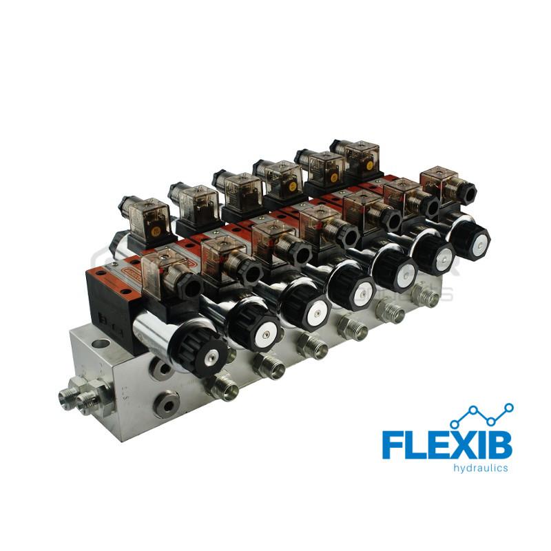 Hüdrauliline jagaja 6 sektsiooni 60L / min plokitüübi CETOP 03 NG6 elektriliselt juhitav 230 Hüdroklapid 230V Hüdroklapid