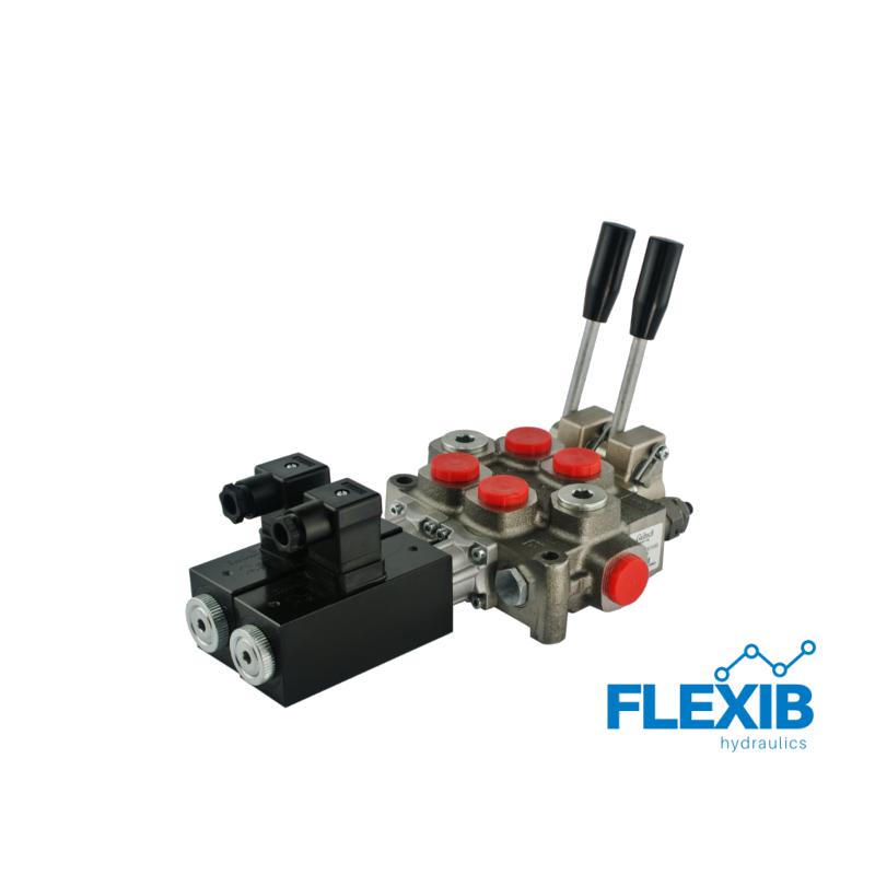 Hüdrauliline jagaja 2 sektsiooni 60L / min elektriliselt juhitav 24V Kuni 60L / min Elektriliselt juhitavad hüdrojagajad 24V