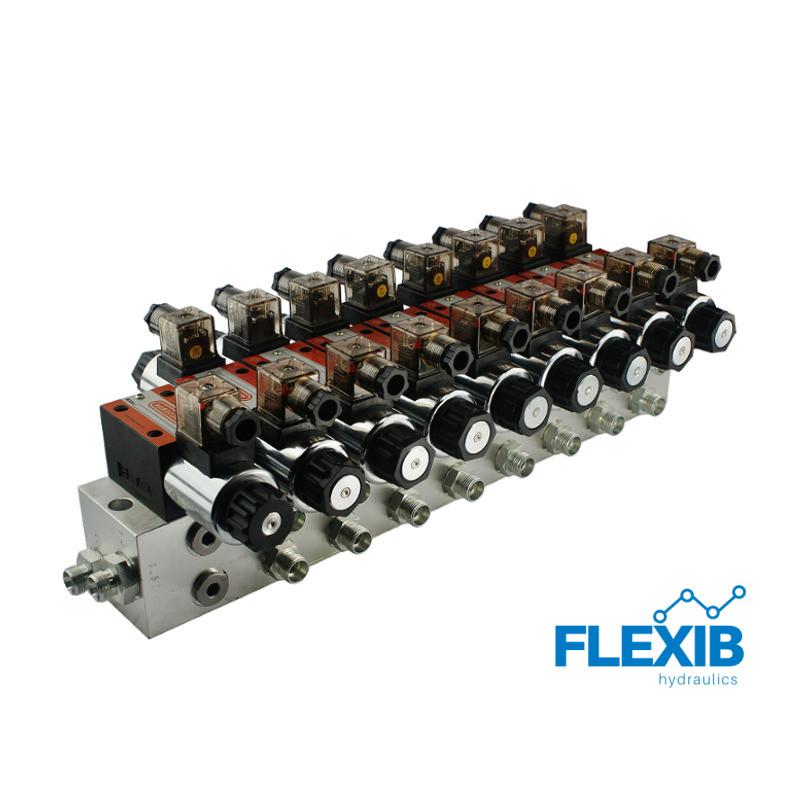 Hüdrauliline jagaja 8 punkti 60L / min plokitüübi CETOP 03 NG6 elektriliselt juhitav 230 Hüdroklapid 230V Hüdroklapid