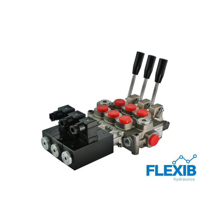 Hüdrauliline jagaja 3 sektsiooni 60L / min elektriliselt juhitav 24V Kuni 60L / min Elektriliselt juhitavad hüdrojagajad 24V