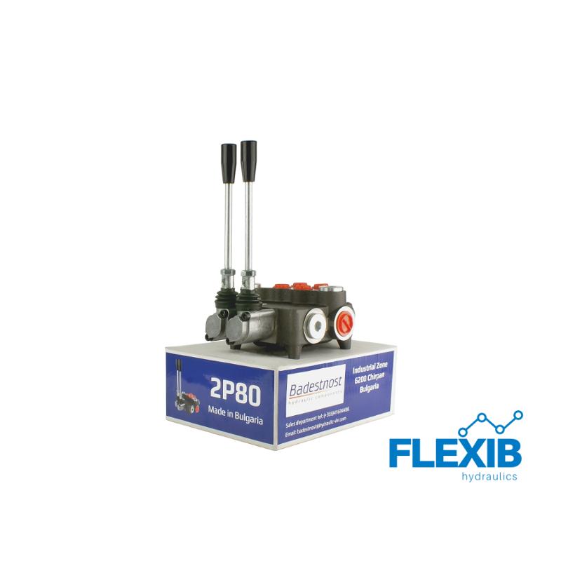 Hüdrauliline jagaja 2 sektsiooni 80L / min : 02P80 A1 Hüdrojagajad kuni 80l/min Hüdrojagajad