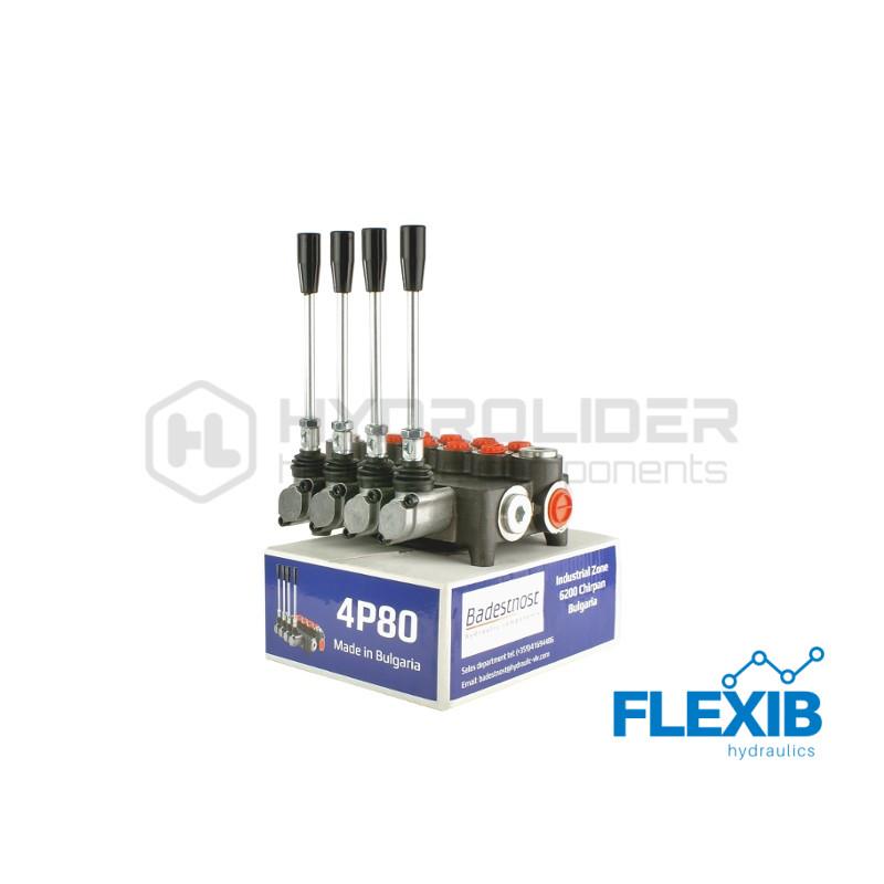 Hüdrauliline jagaja 4-sektsiooniline 80L / min : 04P80 A1A1A1 Hüdrojagajad kuni 80l/min Hüdrojagajad