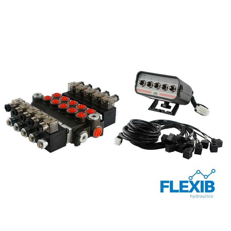 Hüdrauliline jagaja 5-sektsiooni 40L / min 24V elektriliselt juhitav paneel Kuni 40L / min 24V