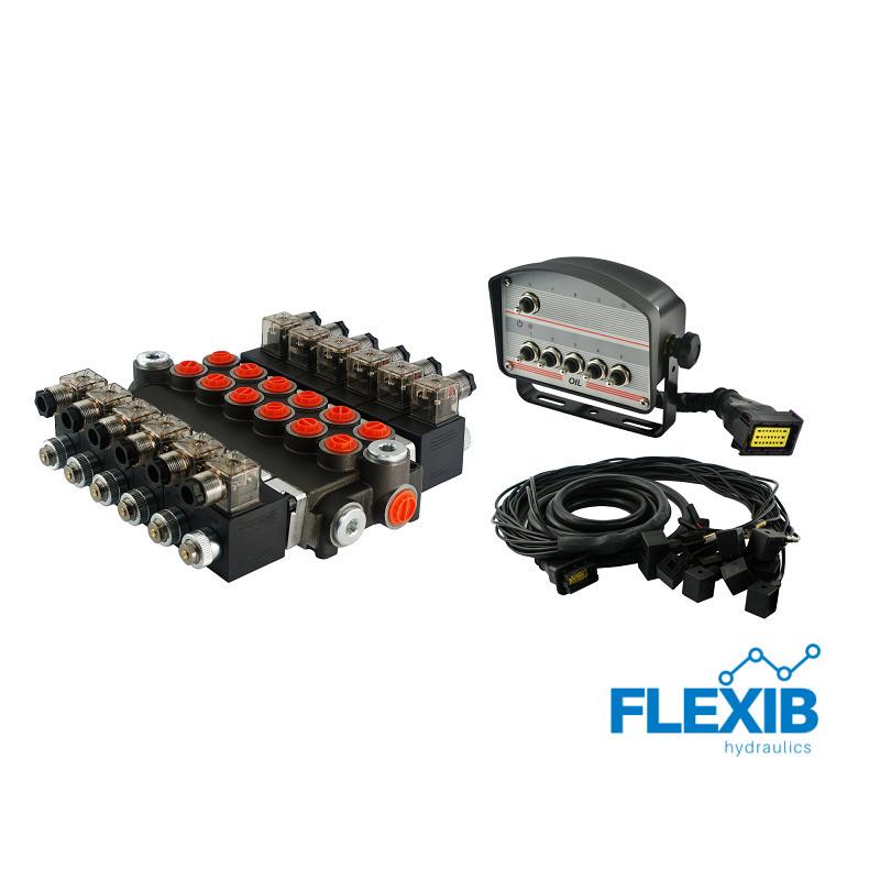 Hüdrauliline jagaja 6 sektsiooni 40L / min elektriliselt juhitav 24V Kuni 40L / min 24V