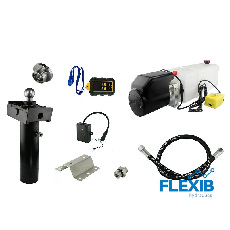 Hüdrojaama komplekt 24V + Raadioga kontrollitav , 8T Hüdraulika haagistele ja kalluritele Hüdraulika haagistele ja kalluritele